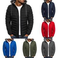 US Men Coat Lightweight Jacket Insulated Jacket Slim Fit Puffer Hooded Zipper