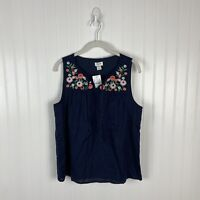 J. Crew Tank Top XS Navy Blue Floral Multicolor Embroidered Boho Festival Spring