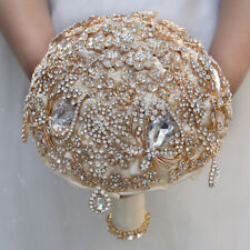 Rhinestone Satin Roses Bridal Wedding Bouquet Brooch Crystal Bride Hand Flower