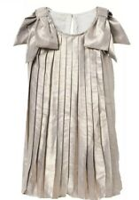 Gymboree Gold Pleated Metallic Dress With Bows, Size 14 Nwt