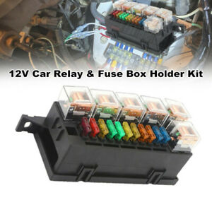 12V Car Relay & Fuse Box Holder w/ 11x Blade Fuse and 6x Relay Truck Tractor Kit