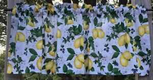 Lemon Blueberry Yellow Lemons Green Leaf Blueberry Kitchen Citrus Cotton Valance