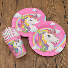 20pcs/set Unicorn Paper Cups and Plates for Happy Birthday Party Tableware Decor
