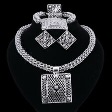African Beads Jewelry Set Silver Plated Bridal Wedding Ring Necklace Jewelry Set