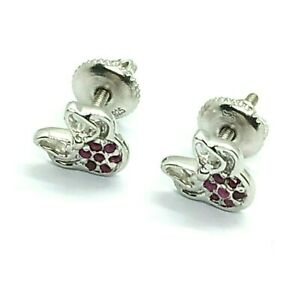 Minnie Mouse Ruby Stud Earrings 14k White Gold Over 925 Silver Mickey Womens Day