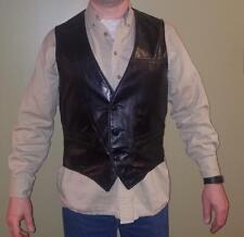 Vintage Schott NYC Black Leather Motorcycle Biker Style Vest Men's Sz Large