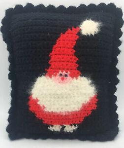 "Hand-Made  'SANTA'  8 X 10"" Crocheted Pillow Mohair Beard -Bead Eyes"