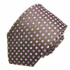 Men's black with purple geometric pattern woven tie