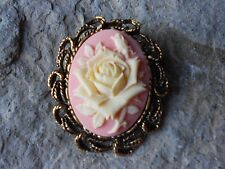 2 IN 1 PALE YELLOW ROSE, PEACH CAMEO ANTIQUE GOLD BROOCH / PIN / PENDANT, UNIQUE