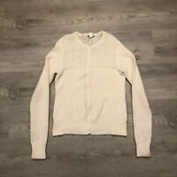 J Crew Womens White Slight Wool Blend Button Cardigan Size Medium