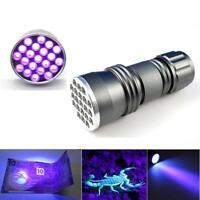 Ultra Violet 21 UV LED Flashlight Blacklight Aluminum Handheld Torch Light Lamp