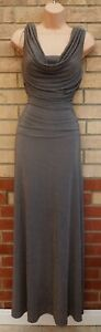 NIGHTWAY GREY GOLD GLITTER COWL NECK RUCHED PARTY EVENING LONG MAXI DRESS 8 S