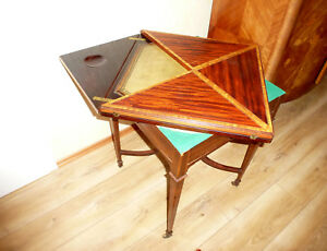 Museum Game Table on Wheels to The Flip Open England XIX Jh Table Geheimknopf