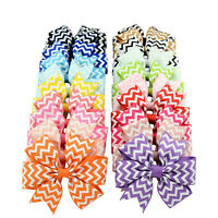10Pcs Baby Kids Girl Wave Bow Hair Clip Boutique Ribbon Stripe Hairpin Headwear