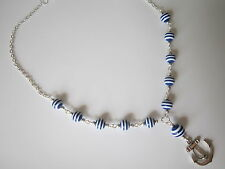 Silver Plated Necklace - Anchor / Nautical / Sailor Stripe - Blue / White