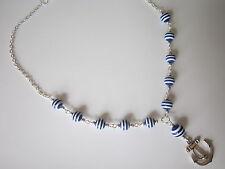 SILVER PLATED COLLANA-Anchor / Nautico / Sailor Stripe-BLU / BIANCO