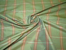 """~BTY~FABRICUT~100% SILK """"DUFF"""" MINT PLAID~UPHOLSTERY FABRIC FOR LESS~"""
