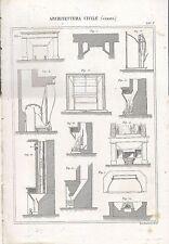 ARCHITETTURA CIVILE CAMINO INCISIONE STAMPA IN RAME 1866 TAVOLA ORIGINALE