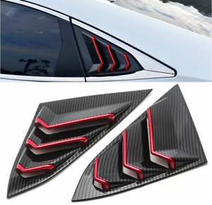 NEW V2 For Honda Civic 2016-2020 Quarter Window Louver Cover ABS Carbon Look