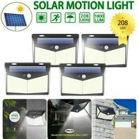 4PK 208LED PIR Motion Sensor Wall Light Solar Power Outdoor Garden Security Lamp