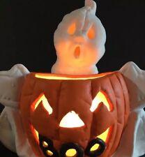 VINTAGE HALLOWEEN Ceramic GHOST & Jack O Lantern PUMPKIN LIGHT DECOR Bisque BOO