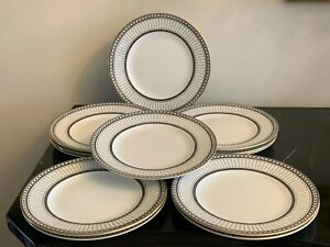 "Wedgwood Colonnade Black 8 1/8"" Salad Plates Set of 12"