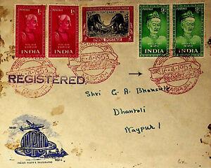 INDIA 1953 SAINT POET ELEPHANT RAILWAY TEMPLE ON REGISTERED COVER