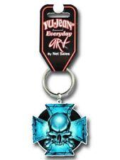 Hippie Key Ring | Blue Skull and Iron Cross | Keyring | Keys | Grateful Dead