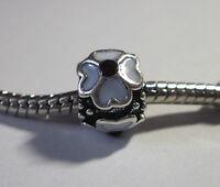Bead Element Perle Weiße Blume Farbe Antiksilber Silber für Armband 0516