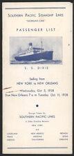 1938 So Pacific Steamship S.S. Dixie Passenger List