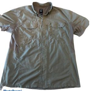 KUHL Men's Sz XL Vented Nylon Hiking Fishing Short Sleeve Button  Green Shirt