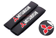 2x Car Seat Safety Belt Pad Cover Shoulder Strap Cushion Logo For Mitsubishi