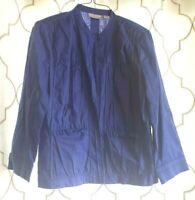 Chico's Size 1 Periwinkle Blue Linen Cotton Blend Jacket Open Front Long Sleeve