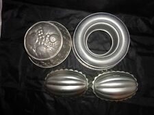 Vintage Collection of Aluminum Pans, 2 - EASTER EGGS, 2 - Jello Molds, 1940s-50s