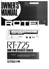 Rotel RT-725 Tuner Owners Instruction Manual