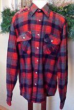 Vintage Cabelas L Tall Wool Work Shirt Red/Multi Plaid Pocket Long Sleeves