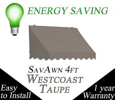 BIG SALE SavAwn Waterproof Retractable 4x2x2 Gray/Brown Taupe Window/Door Awning