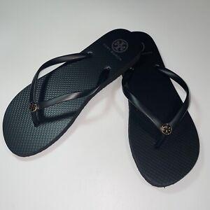 TORY BURCH Black Flip Flops Sandals Thin Rubber Enamel Logo Size 8 NEW
