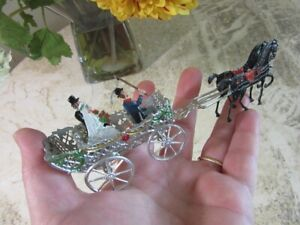Vintage 1920's thin metal Wedding cake topper. Horse, carriage
