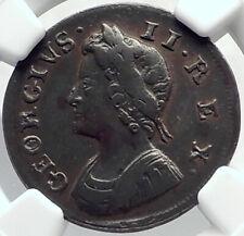 1737 GREAT BRITAIN UK King George II Antique 1/4 Penny BRITANNIA NGC i82379
