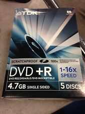 50 DVD TDK IN CONFEZIONE DA 5 Tdk Dvd+R 4.7 Gb 16x Speed Jewel Case Dvd+R4716X