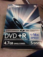 50 DVD TDK IN CONFEZIONE DA 5 Tdk Dvd+R 4.7 Gb 16x Speed Jewel Case Dvd+R4716X