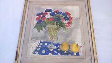 Peinture pot de fleur signée Eric Roine 1975