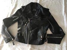 Victoria Beckham, Womens, Black, Motorcycle, Slimfit, Leather Jacket size XS