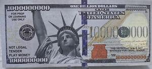 * Statue Of Liberty One Billion Dollars Lot Of 10-1,000,000 Novelty Dollar Bills