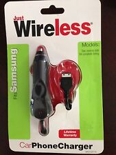 JUST WIRELESS SAMSUNG MOBILE PHONE CHARGER FITS MANY OTHERS TOO - CAR CHARGER