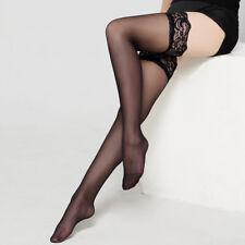 1 Pair Women Black Silk Stockings Ladies Thigh Highs Perspective Long Socks