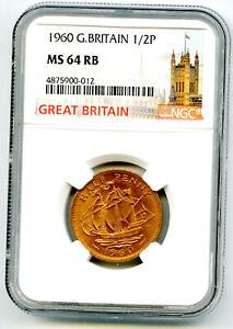 1960 GREAT BRITAIN 1/2 P HALF PENNY NGC MS64 RB GOLDEN HIND DESIGN HALFPENNY