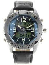 Men's Analog Digital Grey Leather Sport Watch BY Timetech