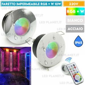 Faretto impermeabile RGB RGBW 10W IP65 LED cromoterapia doccia bagno GU10 STAGNA